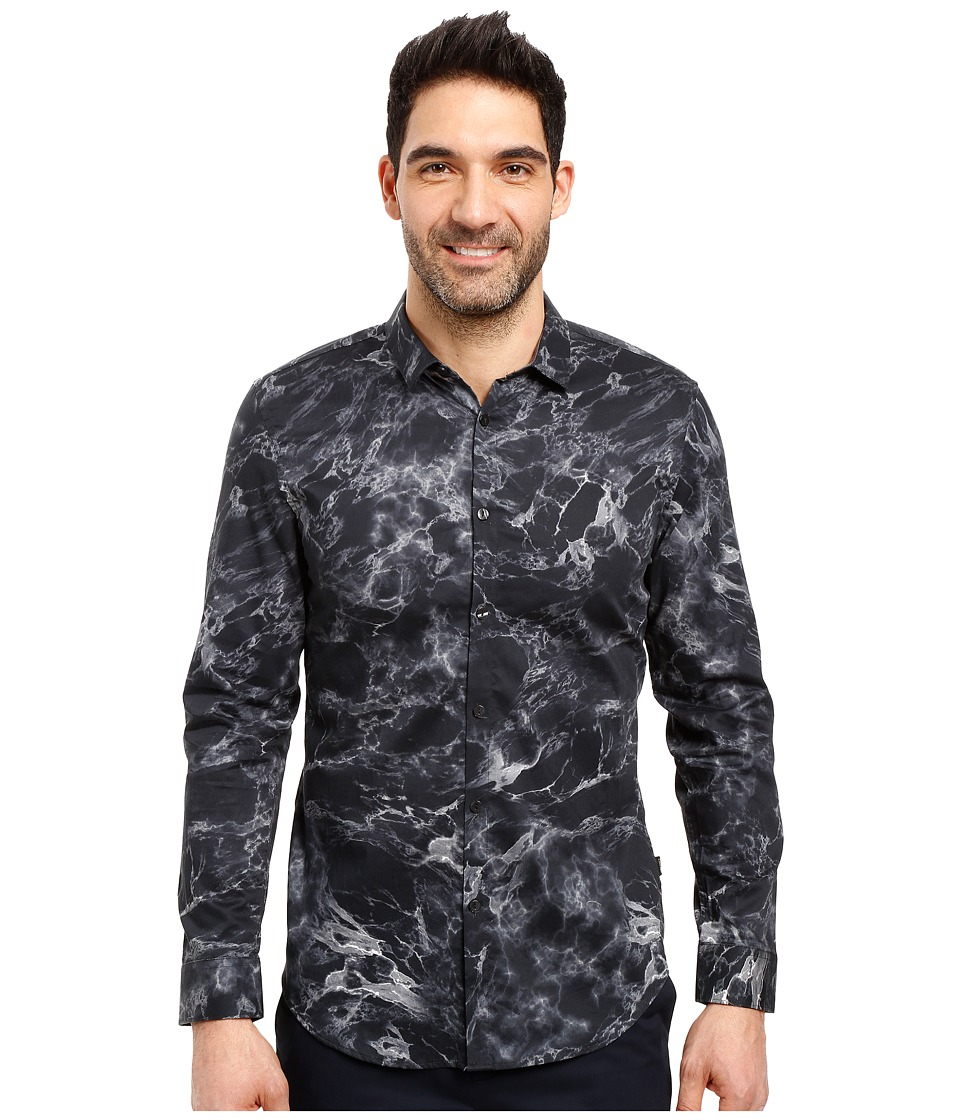 Calvin Klein - Long Sleeve Marble Print Button Down Shirt (Black) Men's Long Sleeve Button Up
