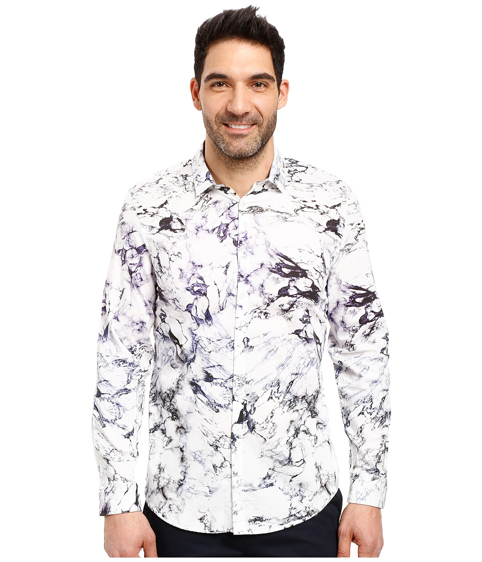 Calvin Klein - Long Sleeve Marble Print Button Down Shirt (Purple Traviata) Men's Long Sleeve Button Up