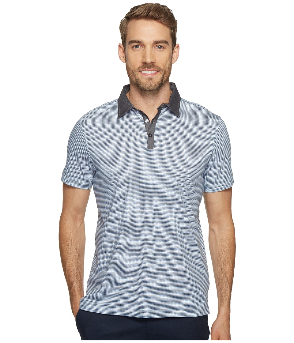 Calvin Klein - Short Sleeve Micro Printed Knit Jersey Polo Shirt (Open Water) Men's Short Sleeve Pullover