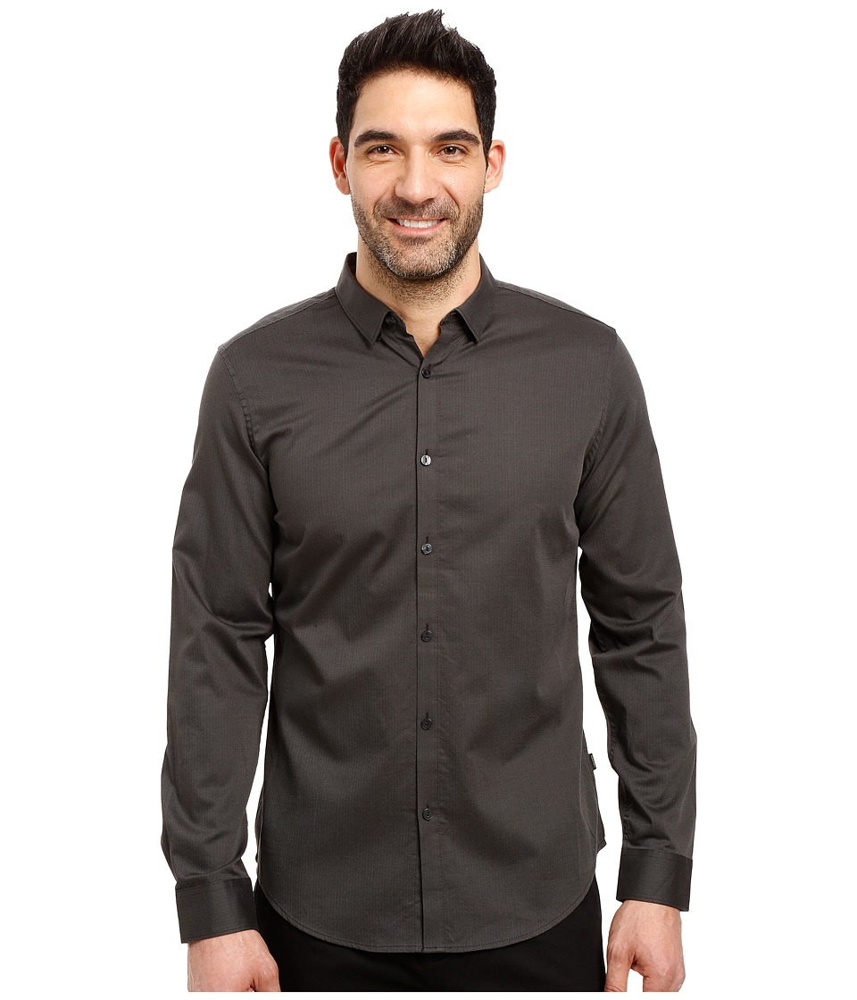 Calvin Klein - Long Sleeve Twill Herringbone Button Down Shirt (Black) Men's Long Sleeve Button Up