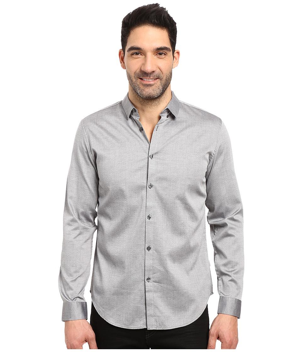 Calvin Klein - Long Sleeve Twill Herringbone Button Down Shirt (Silver Mist) Men's Long Sleeve Button Up
