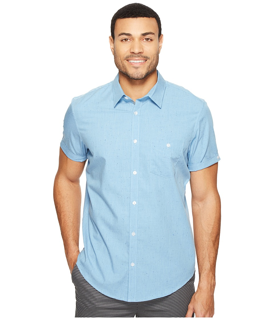 Calvin Klein - Short Sleeve Chambray Shirt (Ocean Breeze) Men's Clothing
