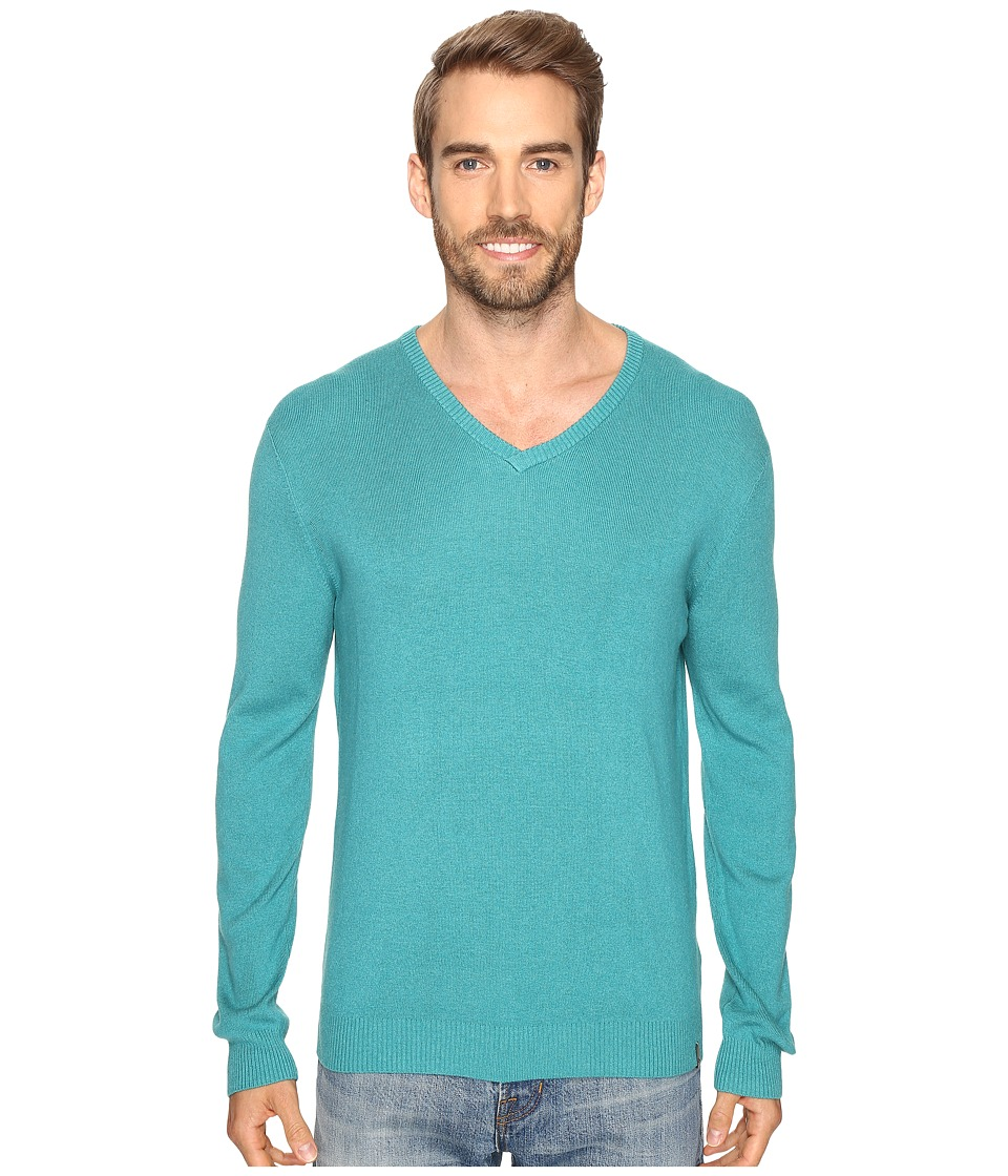 Calvin Klein - Cotton Modal V-Neck Sweater (Blue Grass Heather) Men's Sweater