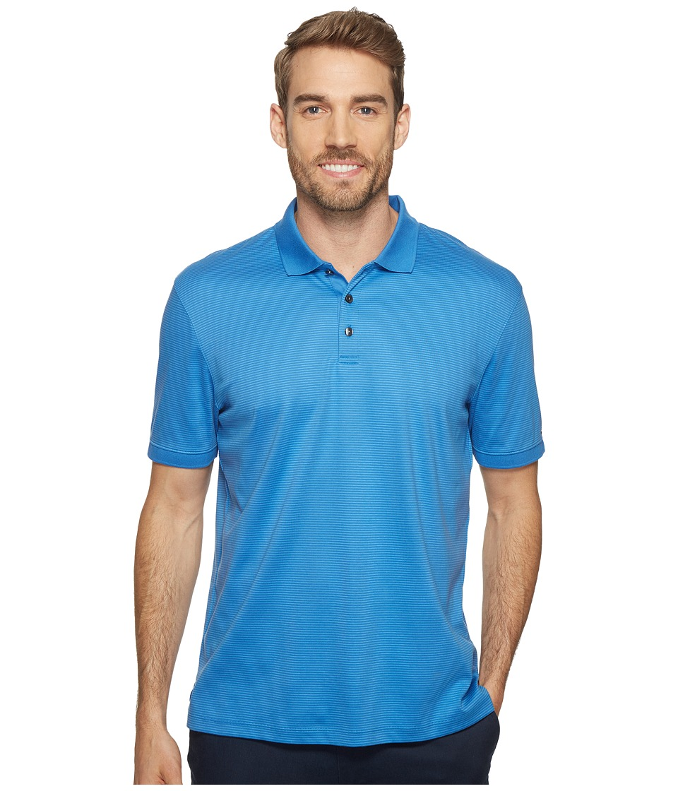 Calvin Klein - Short Sleeve Feeder Stripe Liquid Cotton Polo Shirt (Ocean Breeze) Men's Short Sleeve Pullover