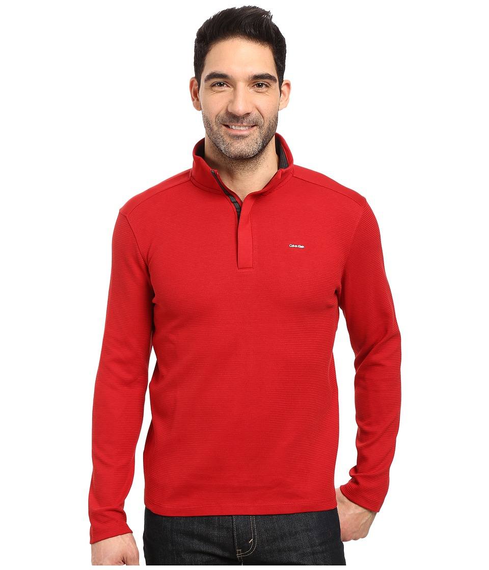 Calvin Klein - Long Sleeve Solid SZ Mock Neck (Artemis Red) Men's Clothing