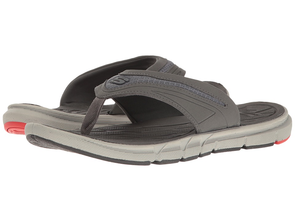 SKECHERS - Thong Sandal w/ Mesh (Charcoal/Red) Men's Sandals