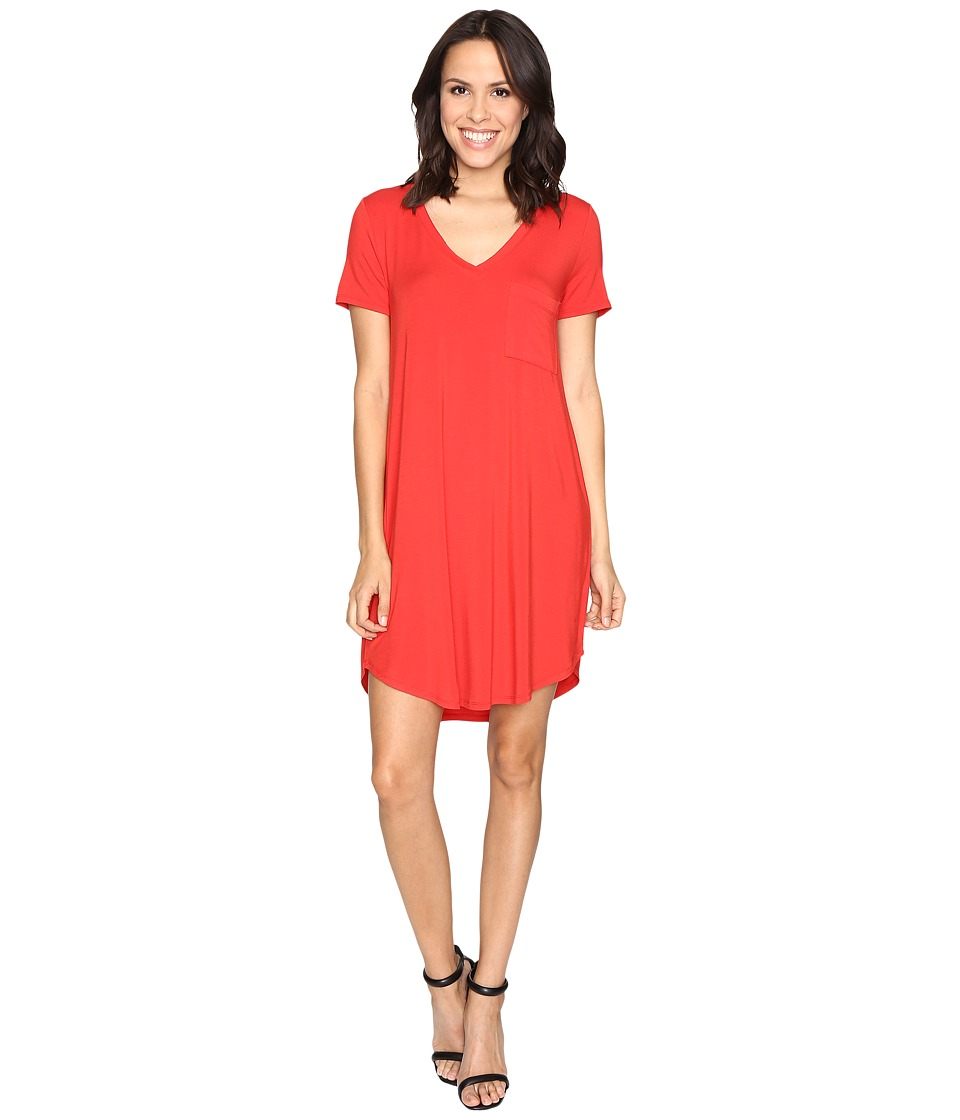 HEATHER - V-Neck Pocket Tee Dress (Poppy) Women's Dress