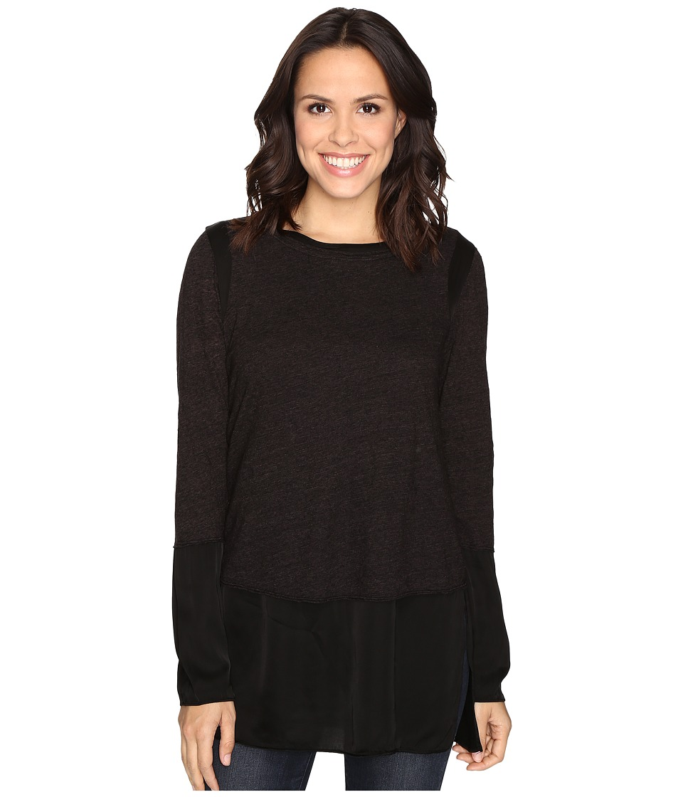 HEATHER - Slub Sateen Long Sleeve Layered Top (Black) Women's Clothing