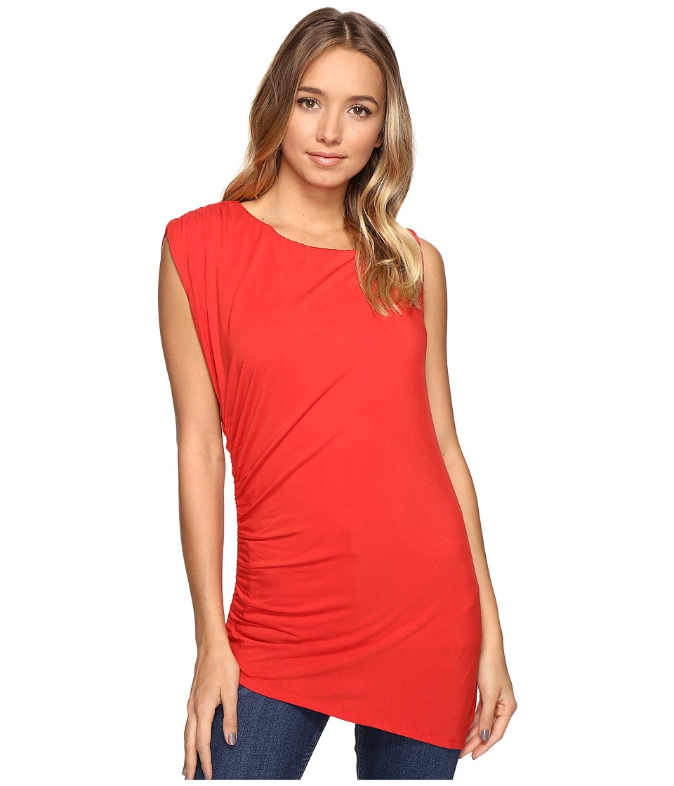 HEATHER - Asymmetric Shirred Top (Poppy) Women's Clothing
