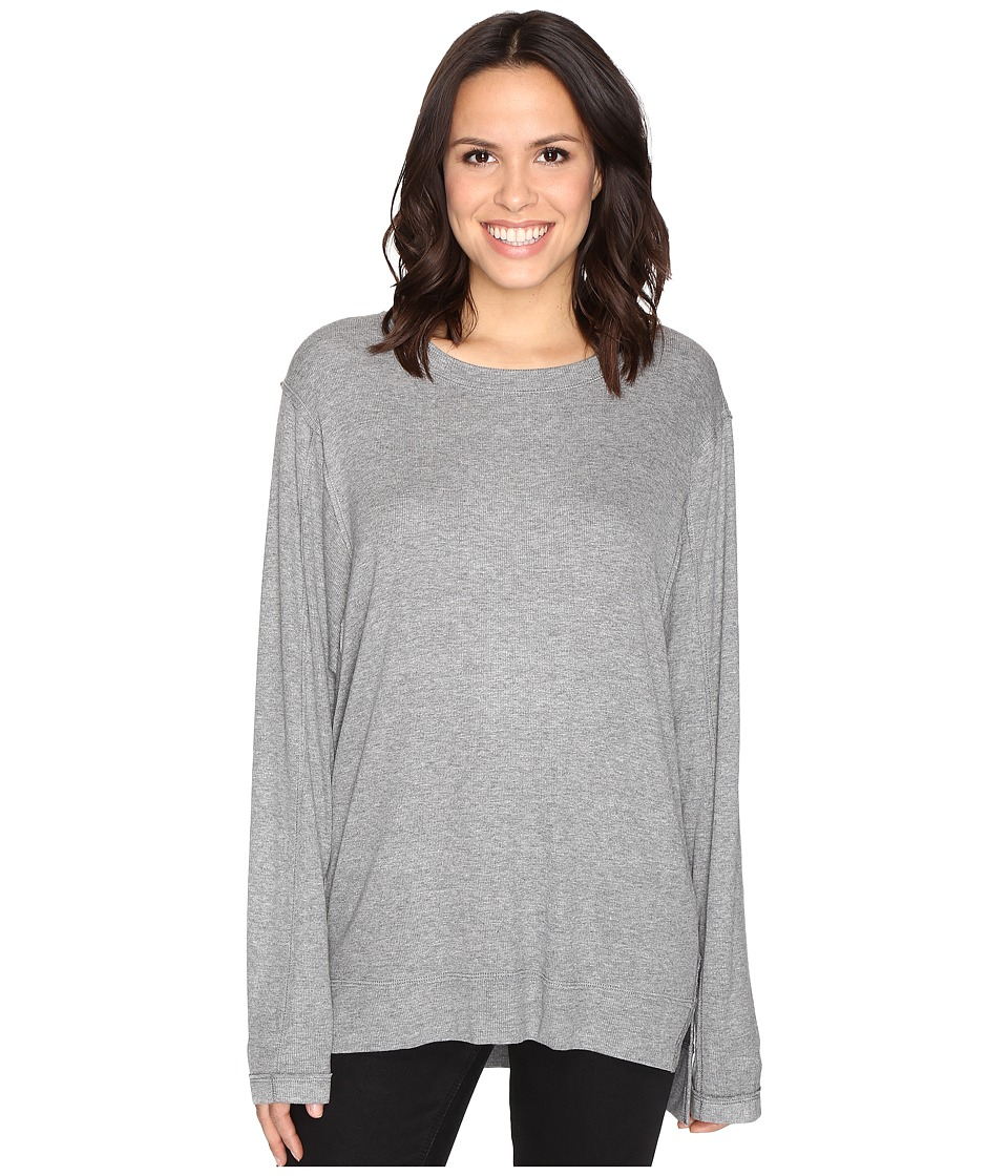 HEATHER - Split Front Long Sleeve Top (Light Heather Grey) Women's Clothing