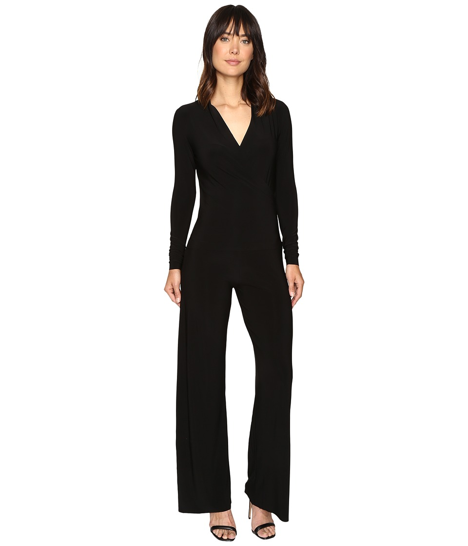 KAMALIKULTURE by Norma Kamali - Long Sleeve Modern Side Drape Jumpsuit (Black) Women's Jumpsuit & Rompers One Piece