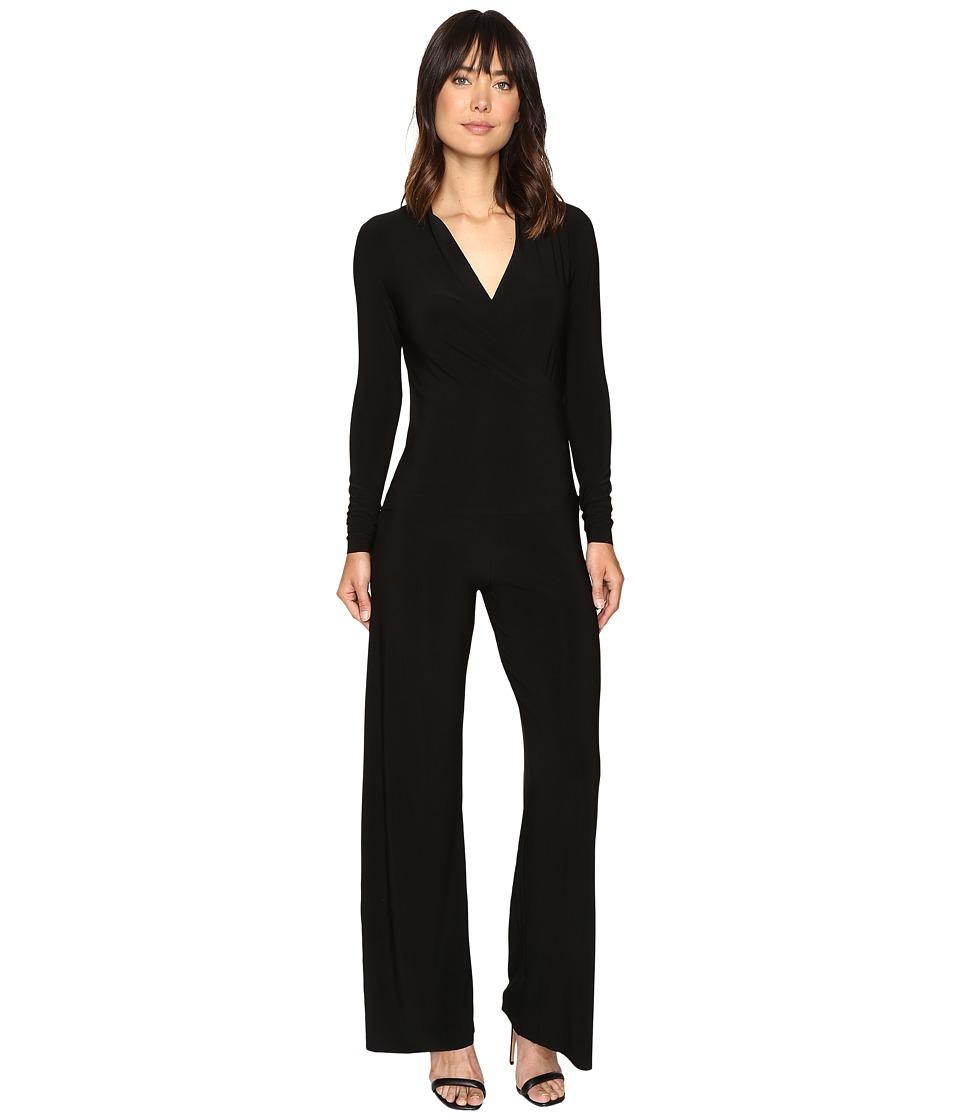 KAMALIKULTURE by Norma Kamali - Long Sleeve Modern Side Drape Jumpsuit (Black) Women's Jumpsuit & Rompers One Piece