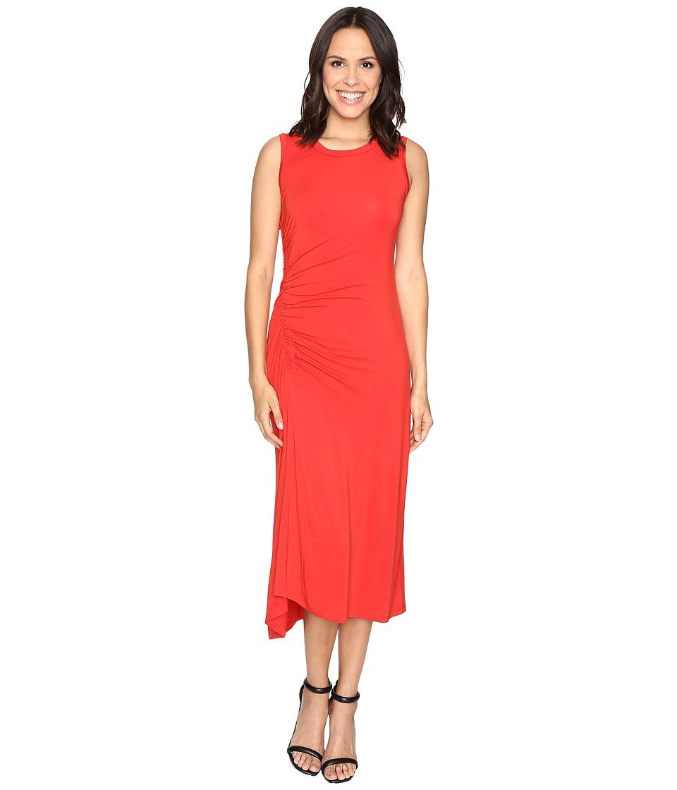 HEATHER Asymmetrical Shirred Midi Tank Dress (Poppy) Women
