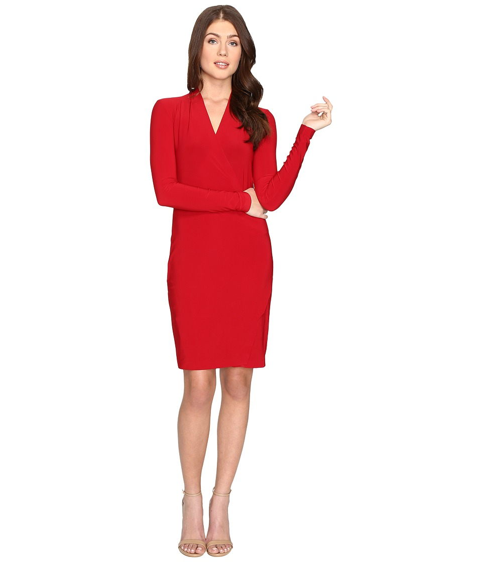 KAMALIKULTURE by Norma Kamali - Long Sleeve Modern Side Drape Dress To Knee (Red) Women's Dress