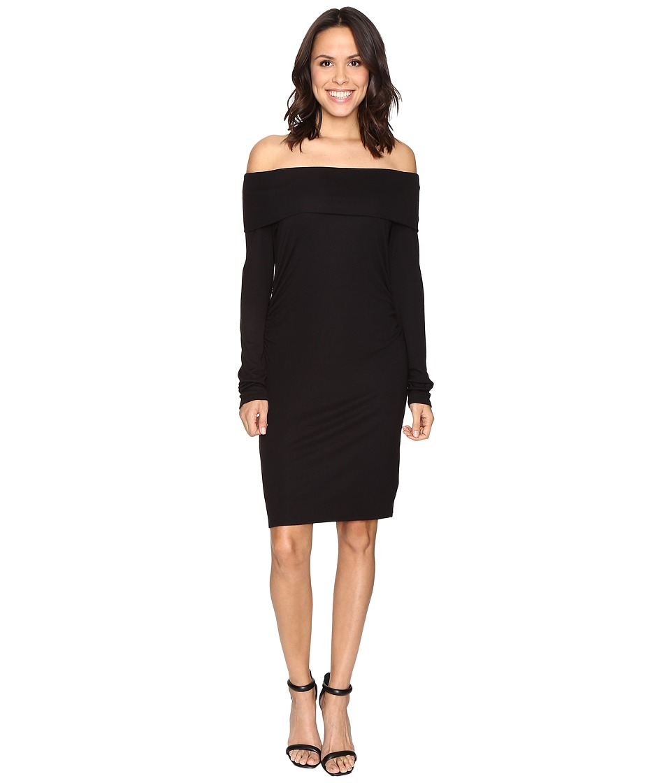 HEATHER - Long Sleeve Off Shoulder Dress (Black) Women's Dress