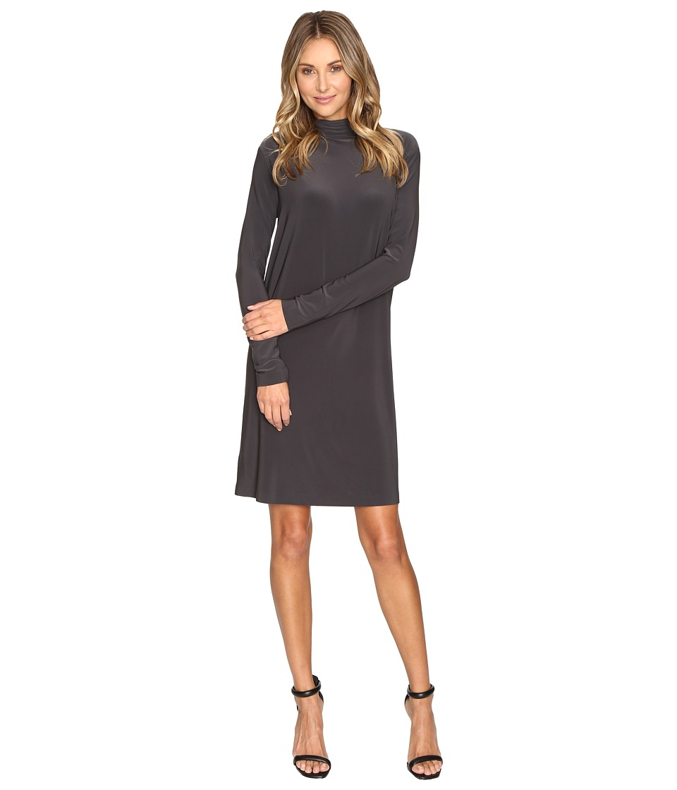 KAMALIKULTURE by Norma Kamali - Long Sleeve Turtleneck Dress To Knee (Pewter) Women's Dress