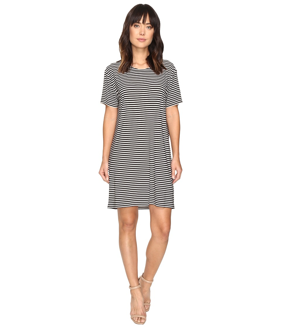 KAMALIKULTURE by Norma Kamali - Short Sleeve Boxy Dress To Knee (1/4 Ivy/Black Stripe) Women's Dress