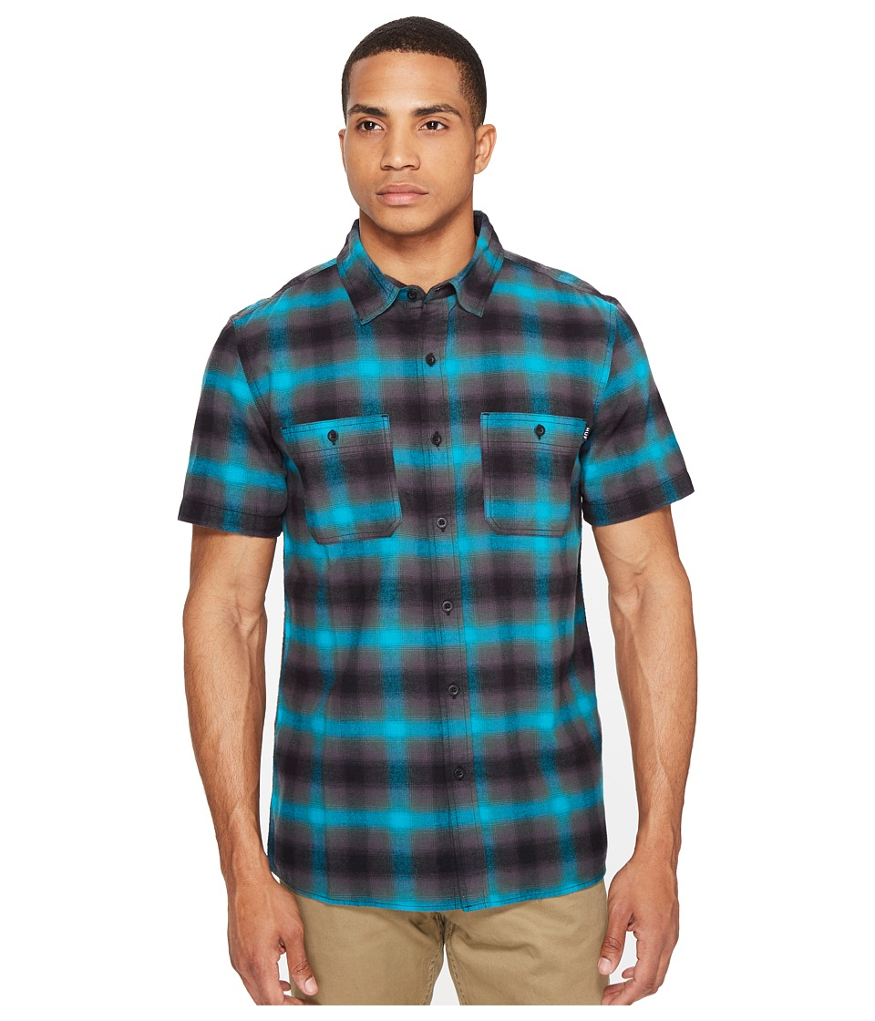 HUF - Ombre Plaid Short Sleeve Shirt (Aqua) Men's Clothing