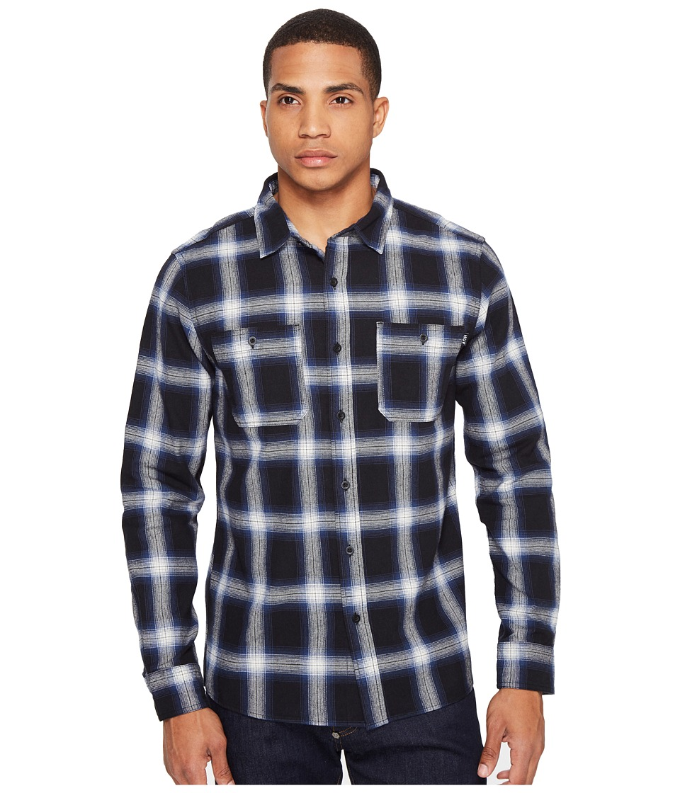 HUF - Ombre Plaid Long Sleeve Shirt (Blue) Men's Clothing