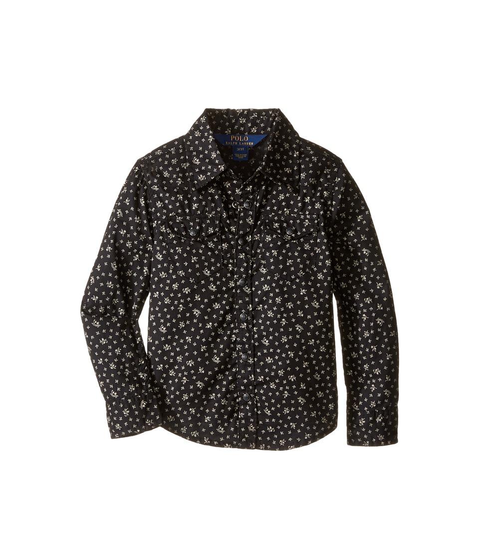 Polo Ralph Lauren Kids - Cotton Gauze Western Shirt (Toddler) (Black/Cream Multi) Girl's Long Sleeve Button Up
