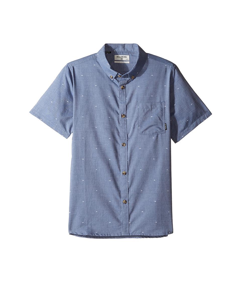 Billabong Kids - Venture Short Sleeve Shirt (Big Kids) (Blue) Boy's Short Sleeve Button Up