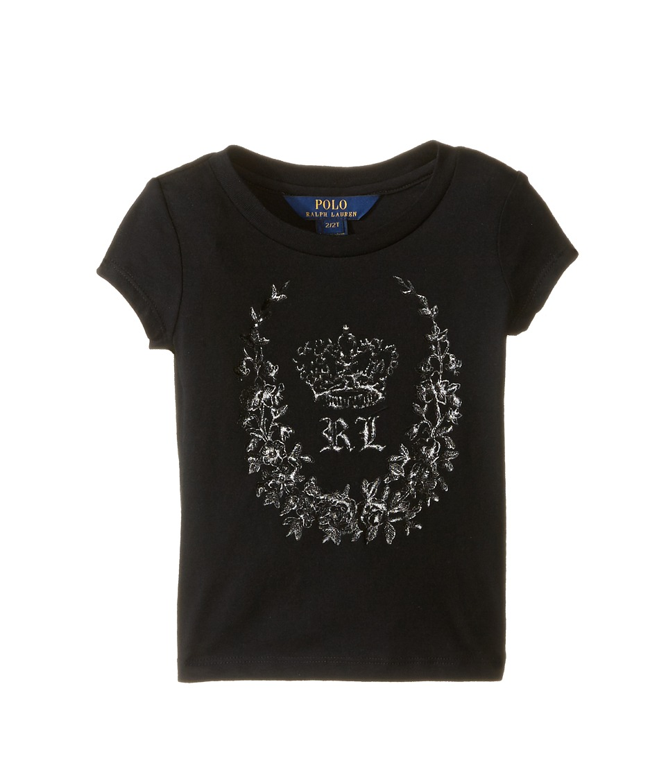 Polo Ralph Lauren Kids - Enzyme Jersey Short Sleeve Graphic Tee (Toddler) (Collection Black) Girl's T Shirt