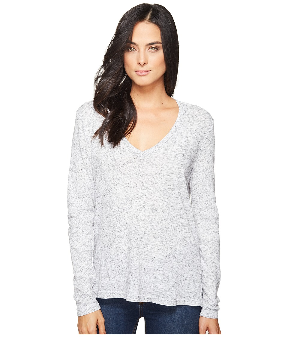 Michael Stars Eyelash Jersey Long Sleeve V-Neck Top (Heather Grey) Women