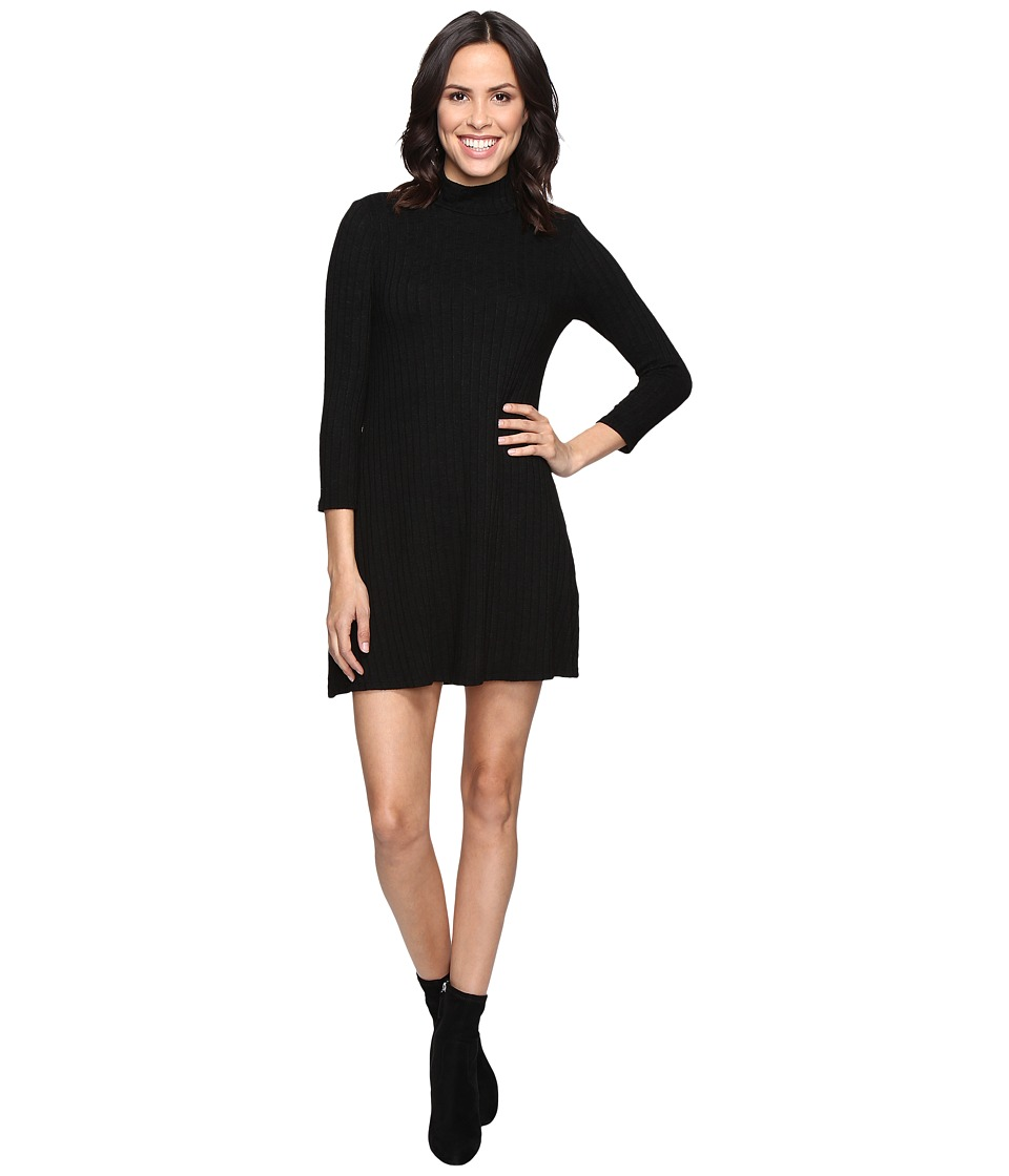 Michael Stars - Jasper Poor Boy Rib 3/4 Sleeve Mock Neck Dress (Black) Women's Dress