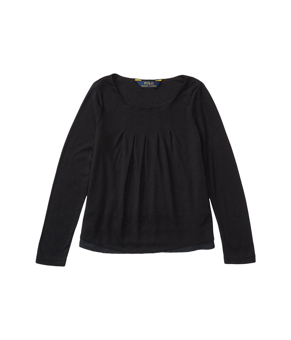Polo Ralph Lauren Kids - Rayon Jersey Knit Woven to Woven Top (Toddler) (Collective Black) Girl's Clothing