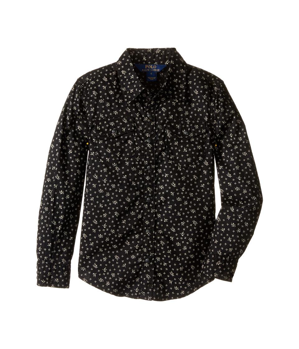 Polo Ralph Lauren Kids - Cotton Gauze Western Shirt (Little Kids) (Black/Cream Multi) Girl's Long Sleeve Button Up