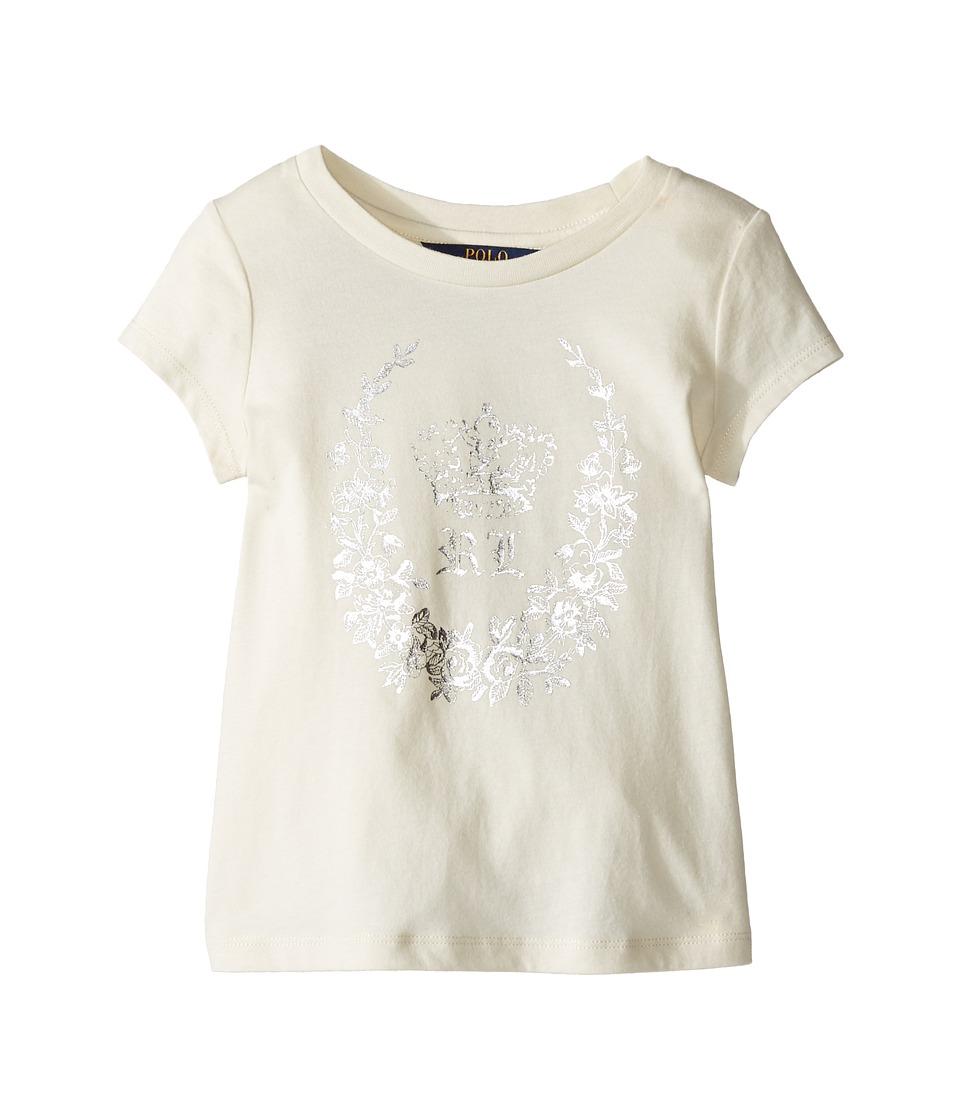 Polo Ralph Lauren Kids - Enzyme Jersey Short Sleeve Graphic Tee (Little Kids) (Herbal Milk) Girl's T Shirt