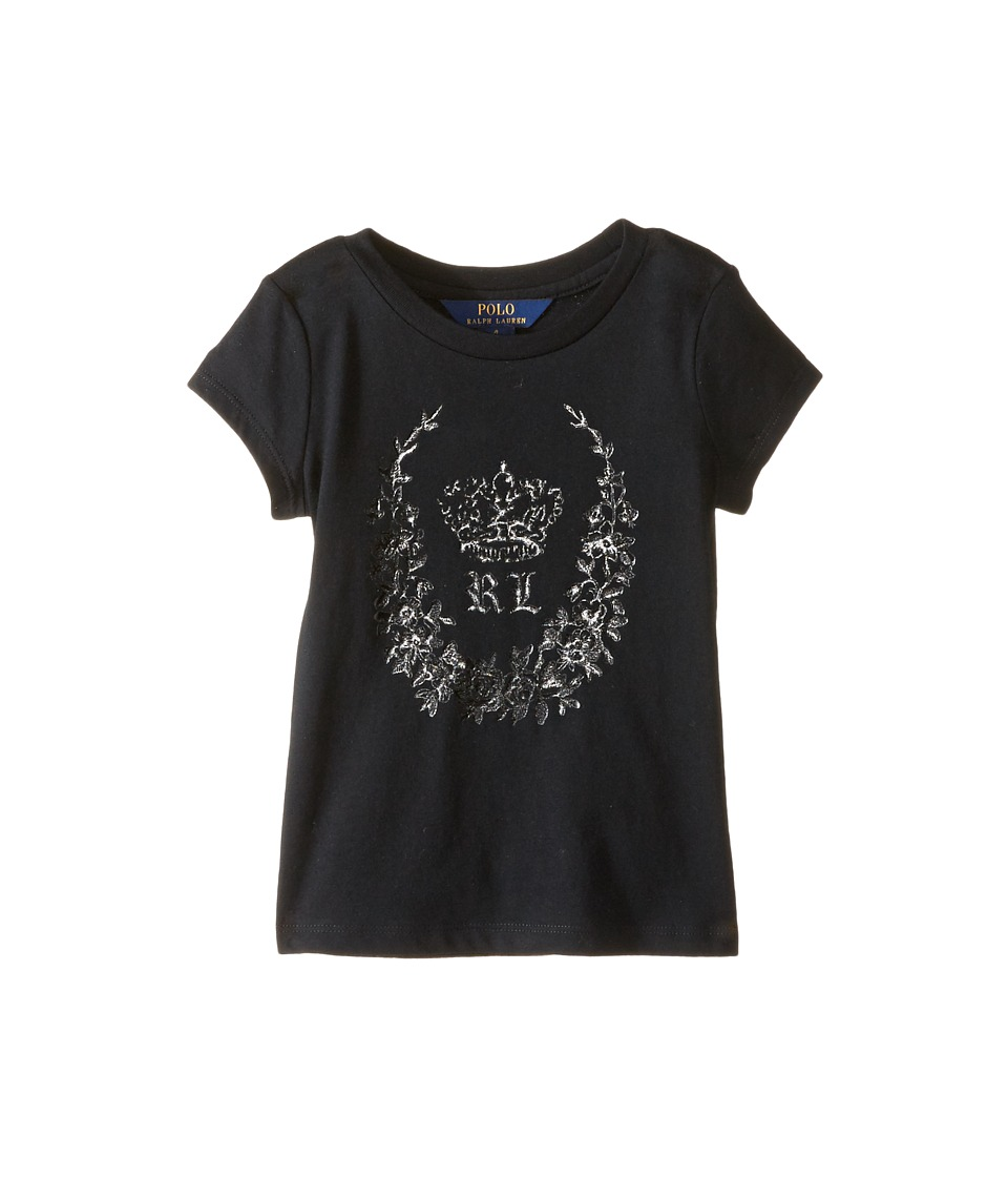 Polo Ralph Lauren Kids - Enzyme Jersey Short Sleeve Graphic Tee (Little Kids) (Collection Black) Girl's T Shirt