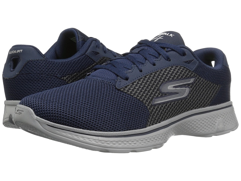 SKECHERS Performance - Go Walk 4 (Navy/Gray) Men's Walking Shoes