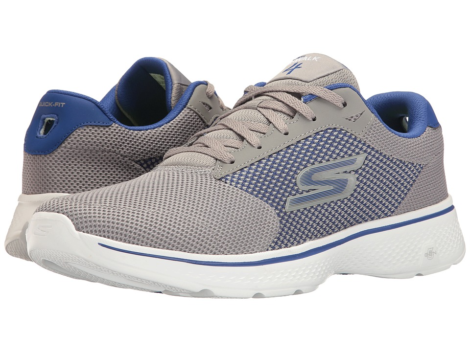 SKECHERS Performance - Go Walk 4 (Gray/Blue) Men's Walking Shoes