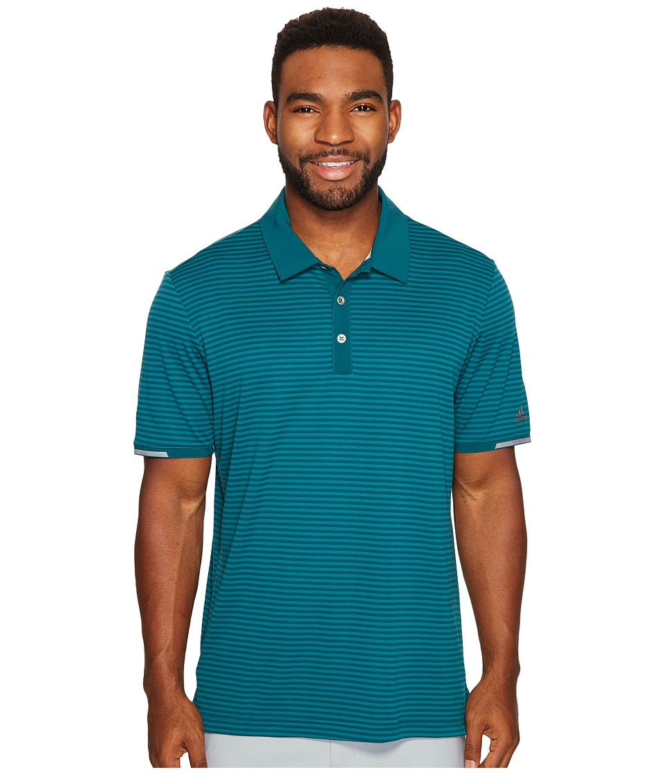 adidas Golf - climachill Tonal Stripe Polo (Rich Green) Men's Short Sleeve Pullover