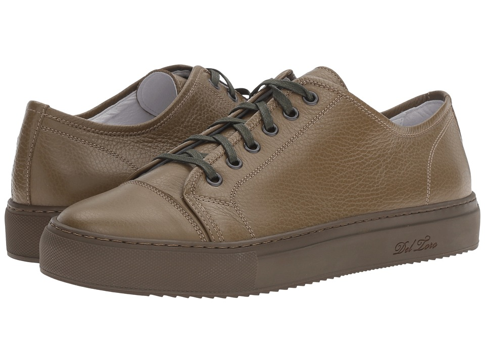 Del Toro - Sardegna Bottelato Leather Sneaker (Olive/Olive) Men's Shoes
