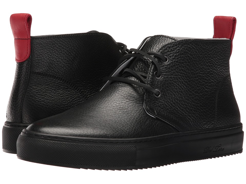 Del Toro - Bottelato Leather Chukka Sneaker (Black/Black) Men's Shoes