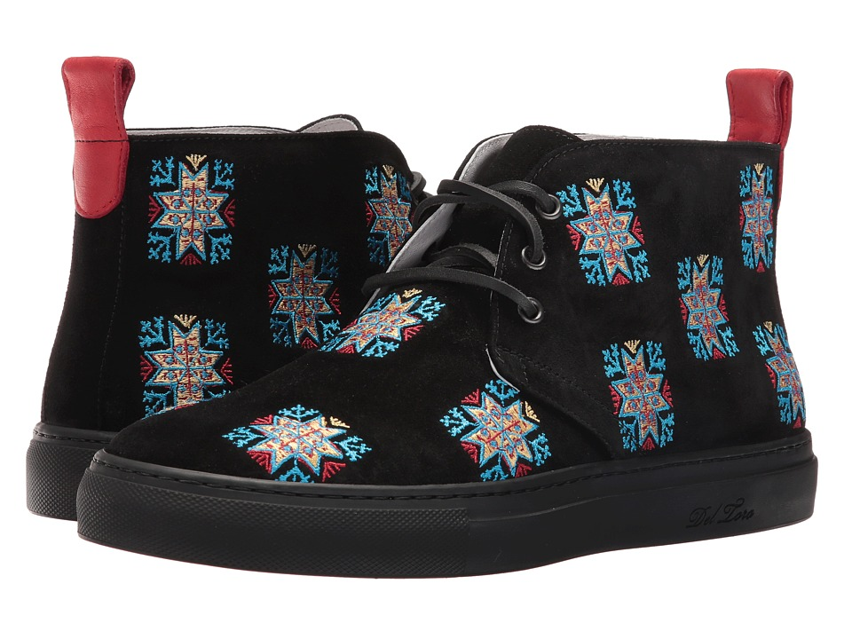 Del Toro - Blue Stars Embroidered Chukka Sneaker (Black/Blue) Men's Shoes