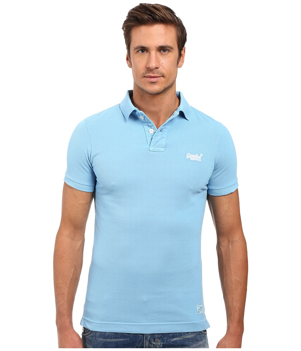 Superdry - Vintage Destroyed Short Sleeve Pique Polo (China Blue) Men's Short Sleeve Pullover