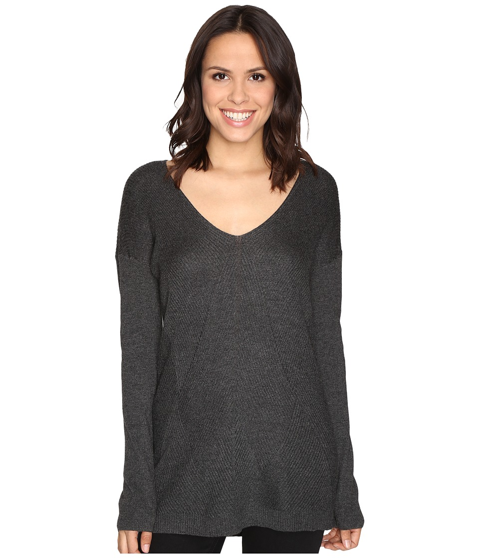 HEATHER - V-Neck Stria Sweater (Heather Black) Women's Sweater
