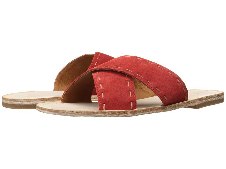 Frye Avery Pickstitch Slide (Red Soft Oiled Suede) Women