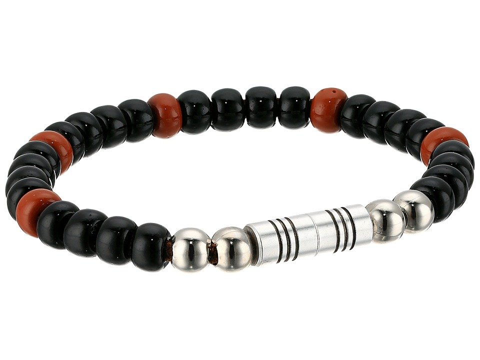 Torino Leather Co. - Czech Glass Beaded Bracelet (Black/Brown) Bracelet