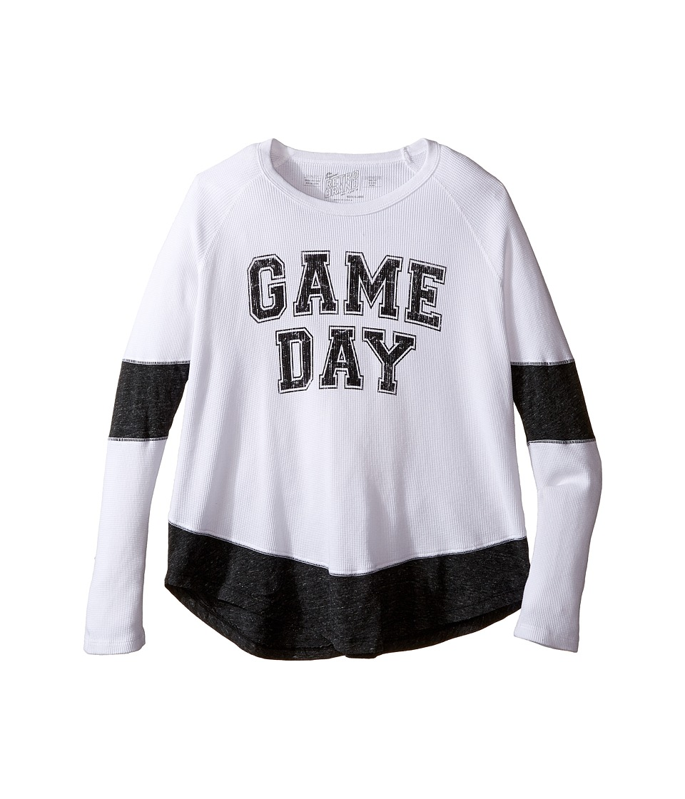 The Original Retro Brand Kids - Game Day Long Sleeve Inset Thermal (Big Kids) (White/Streaky Black) Girl's Clothing