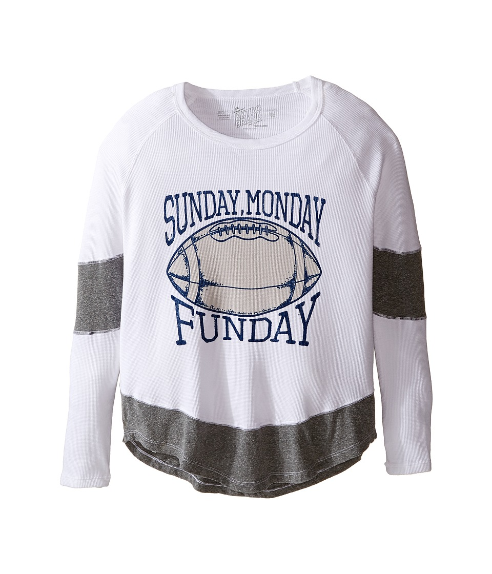 The Original Retro Brand Kids - Sunday Monday Funday Long Sleeve Inset Thermal (Big Kids) (White/Streaky Grey) Girl's Clothing