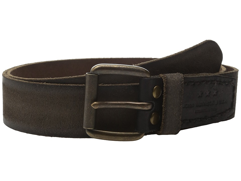 John Varvatos - 40mm Waxed Suede Belt with Harness Buckle (Black) Men's Belts