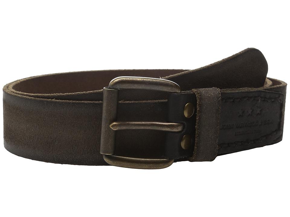 John Varvatos - 40mm Waxed Suede Belt with Harness Buckle (Black) Men's Belts