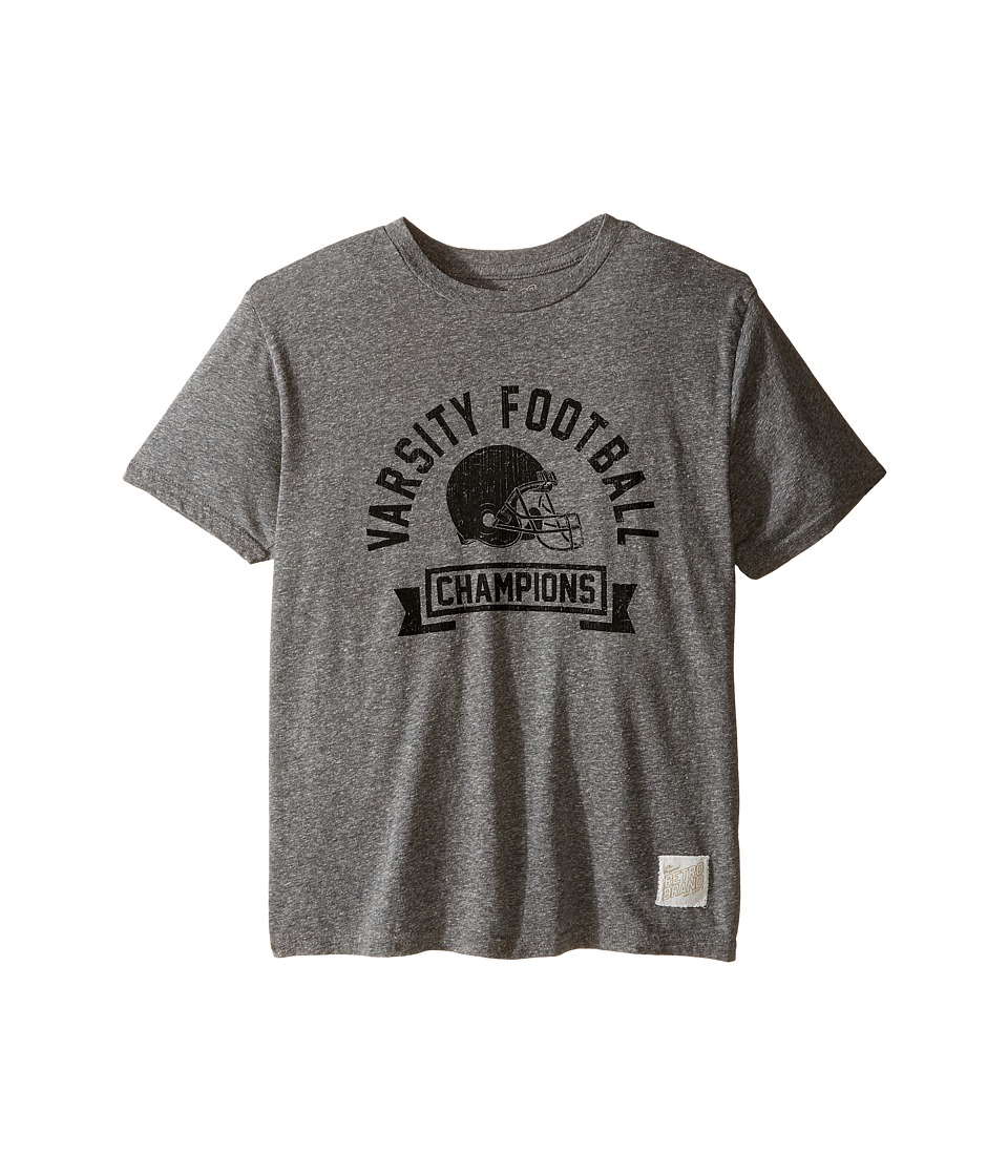 The Original Retro Brand Kids - Varsity Football Tri-Blend Short Sleeve Tee (Big Kids) (Streaky Grey) Boy's T Shirt