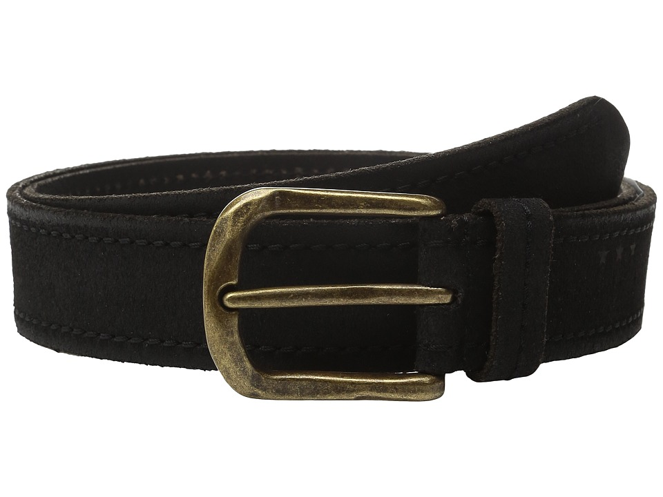 John Varvatos - 40mm Textured Suede Belt with Stitch (Black) Men's Belts