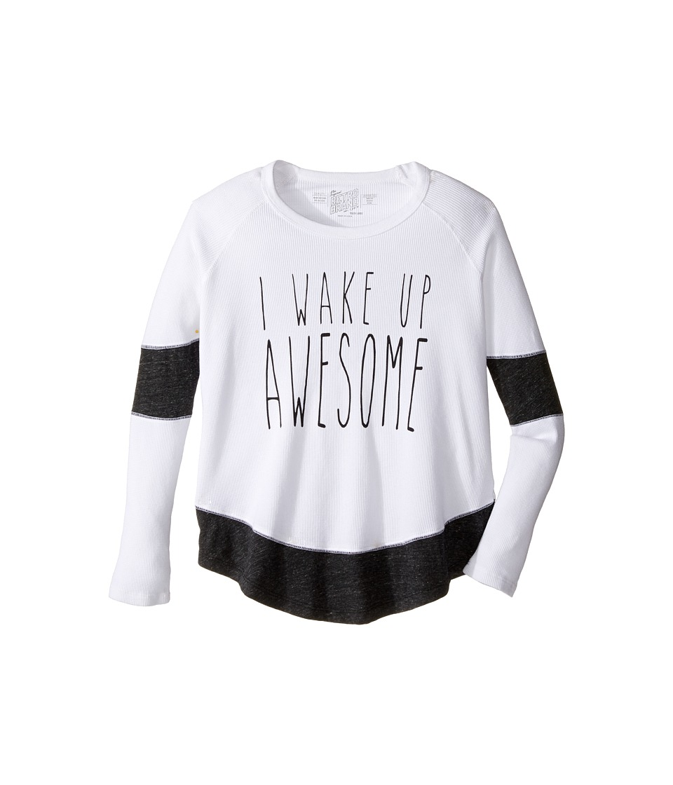 The Original Retro Brand Kids - I Wake Up Awesome Long Sleeve Inset Thermal (Big Kids) (White/Streaky Grey) Girl's Clothing