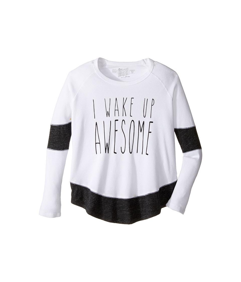 The Original Retro Brand Kids - I Wake Up Awesome Long Sleeve Inset Thermal (Big Kids) (White/Streaky Grey) Girl's Clothing